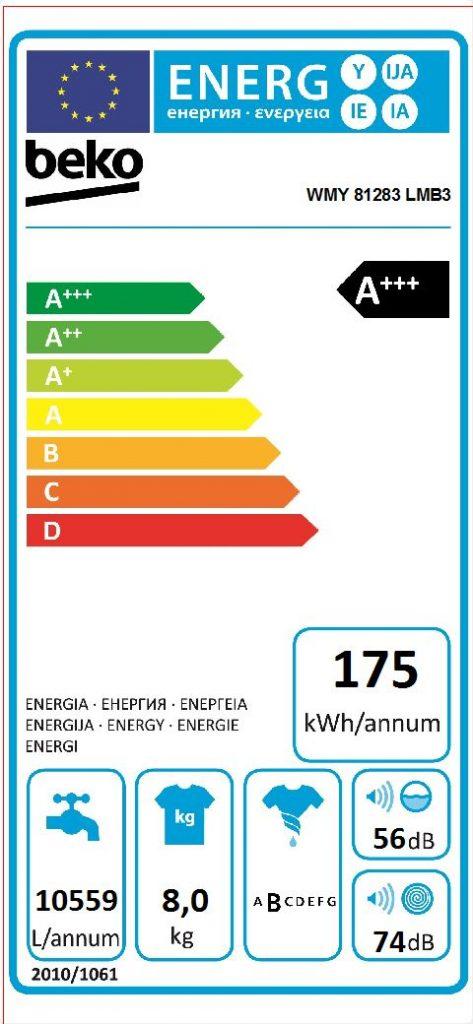 etiqueta energetica beko WMY 81283 LMB3
