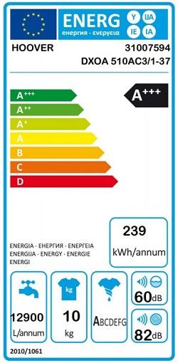 etiqueta energetica hoover DXOA 510AC3