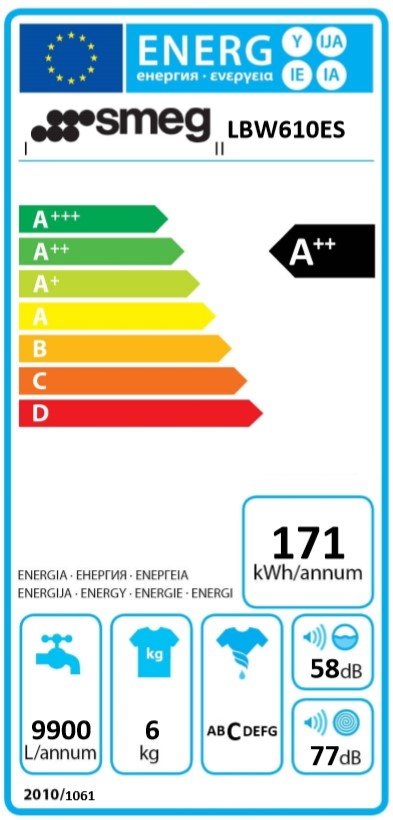 etiqueta energetica lavadora Smeg LBW610ES